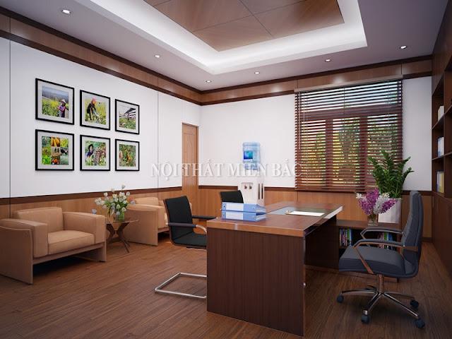 Mẫu bàn làm việc veneer này giúp thể hiện xuất sắc đẳng cấp riêng biệt cho căn phòng làm việc của lãnh đạo