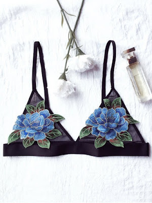 Floral Applique Mesh Plunge Bra - Black