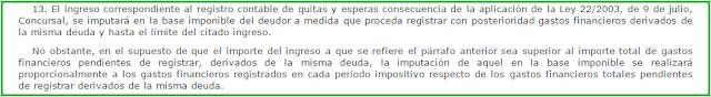 Artículo 11.13 Ley Impuesto Sociedades imputación ingresos quitas y esperas