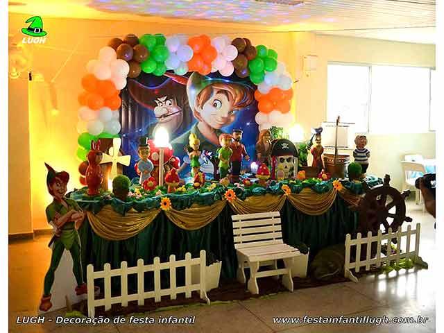 Decoração festa Peter Pan, mesa temática decorada para aniversário infantil