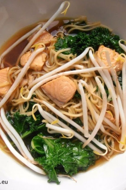 Asian Soup with Salmon and Kale