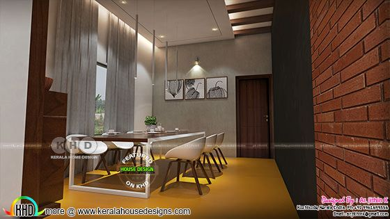 Dining room interior with brick wall design