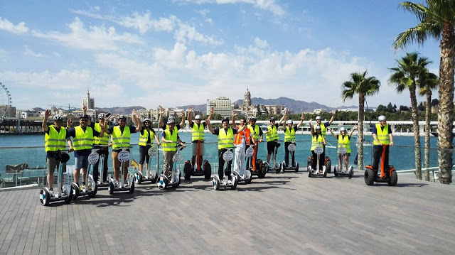 View of a Segway Tour Group at the Port of Malaga