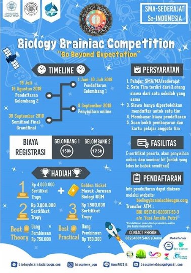 Lomba Biologi SMA Sederajat Brainiac Competition 2018