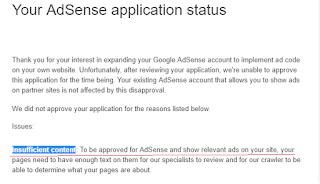 AdSense Denied Insufficient Content