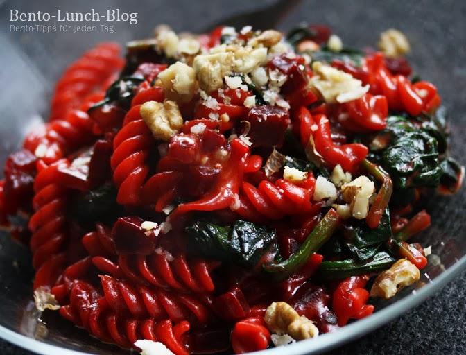 bento lunch blog rezept rote bete pasta mit spinat gorgonzola waln ssen. Black Bedroom Furniture Sets. Home Design Ideas