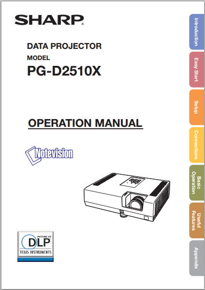 Sharp Projector PG-D2510X Manual Cover