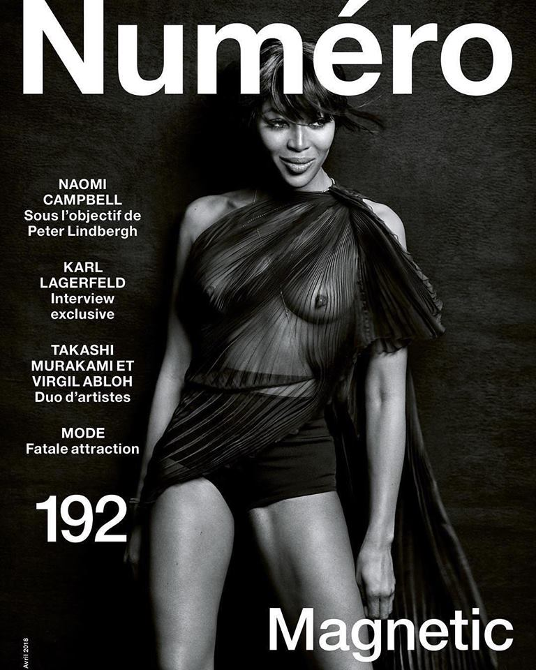 Naomi Campbell covers Numéro #192 April 2018