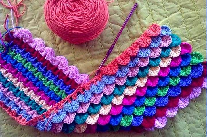 Crocodile Points Yarn In Crochet Pattern Explications