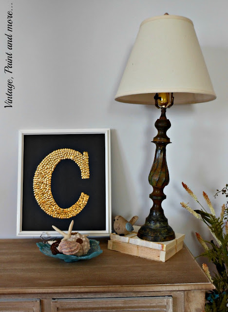 Vintage, Paint and more.... DIY monogram wall art from thumb tacks, rustic lamp, seashells