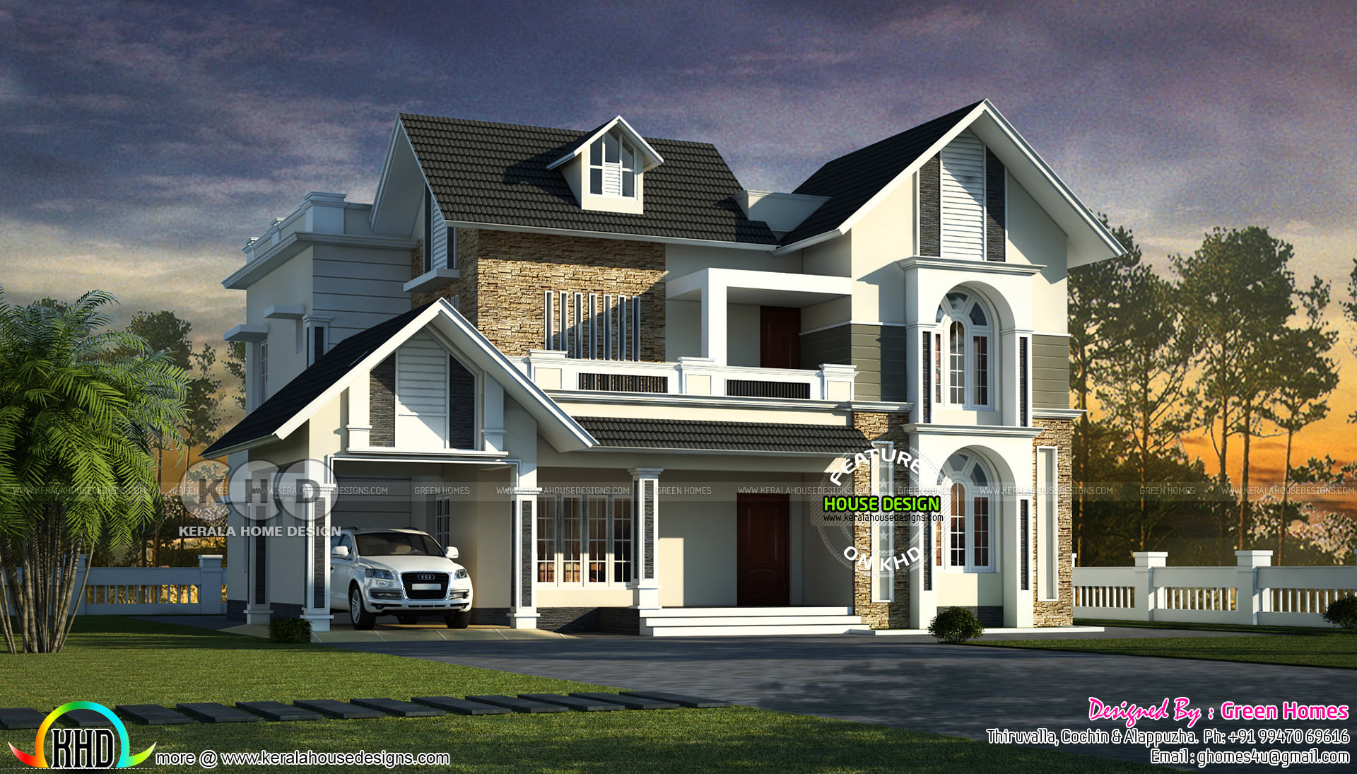 2700 Sq Ft 4 Bedroom Sloping Roof Home Kerala Home Design And Floor Plans 8000 Houses
