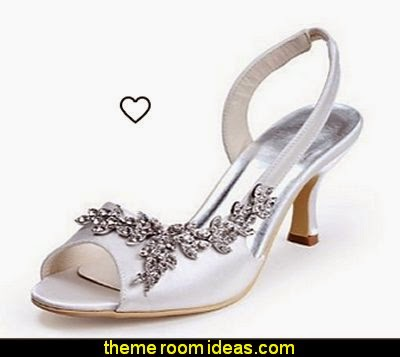 Womens Open Toe Kitten Heel Satin Bridal Wedding Applique Shoes