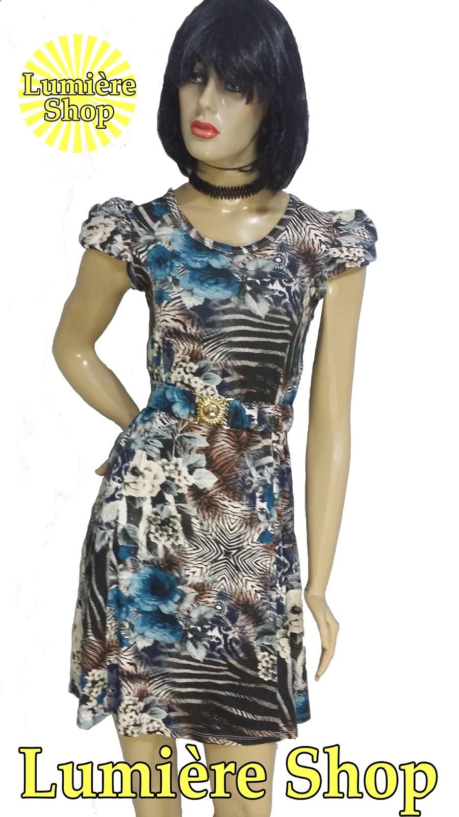 d6fef4f1f Vestido Estampado Detalhe de Mangas Drapeadas e Cinto Cravejado de Cristais  - R$ 59,90   Lumière Shop