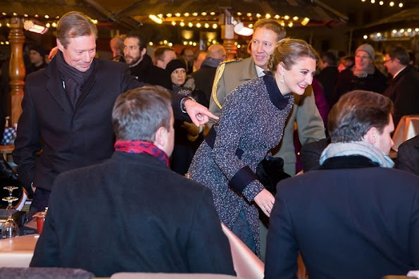 Grand Duke Henri, Duchess Maria Teresa, Prince Guillaume, Princess Stéphanie, Archduchess Marie-Astrid, Princess Sibilla, Princess Eleonora, Princess Margaretha at 125th anniversary of the Luxembourg dynasty, Princess Stephanie gold diamond earrings