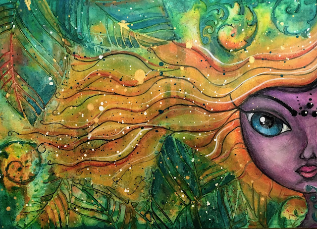 Art journal Whimsical face inspired by Megan K Suarez