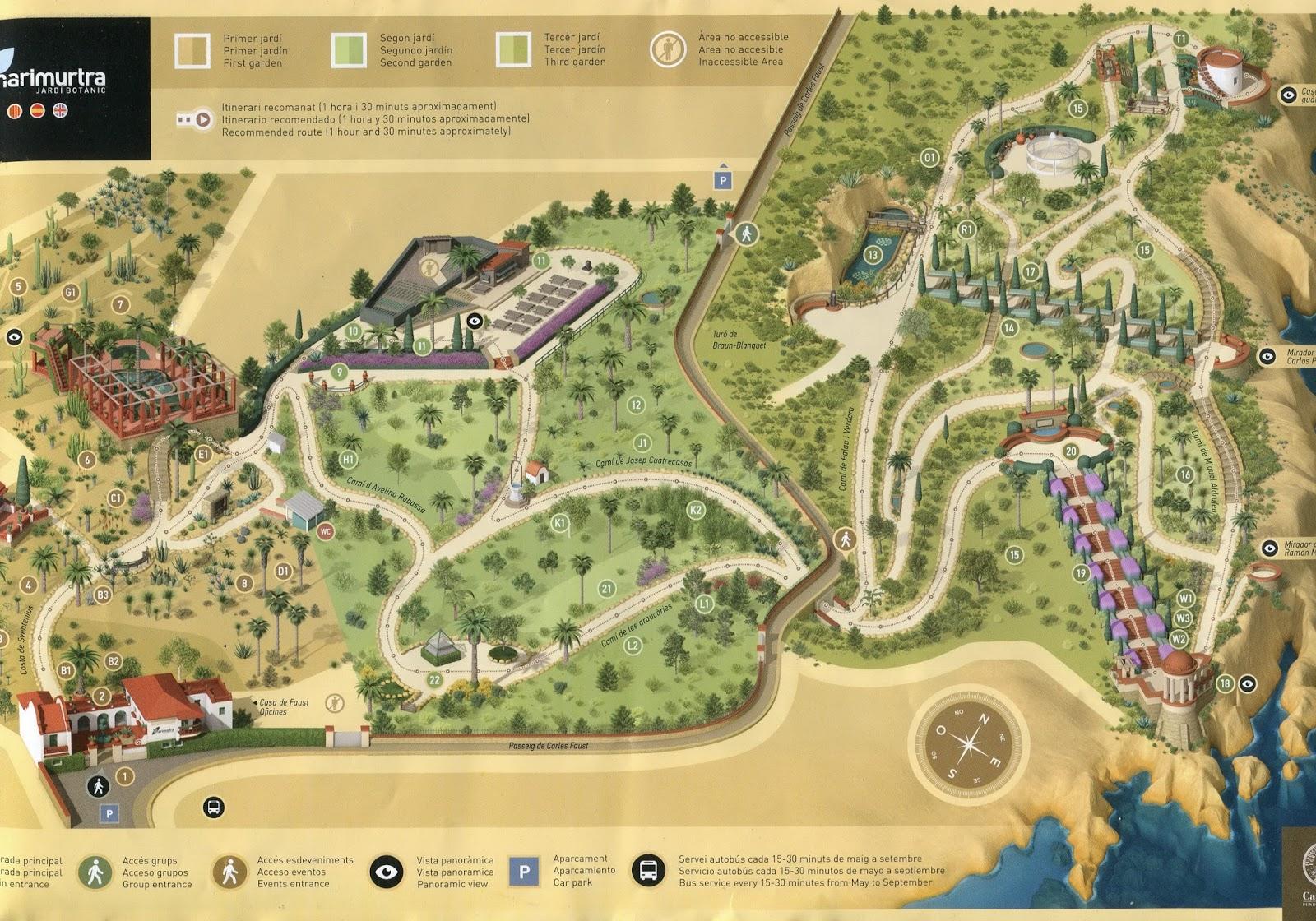 plan des jardins de Marimurtra à Blanes