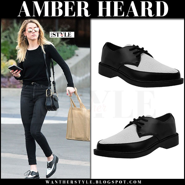 Amber Heard in black outfit with black and white shoes t.u.k. what she wore