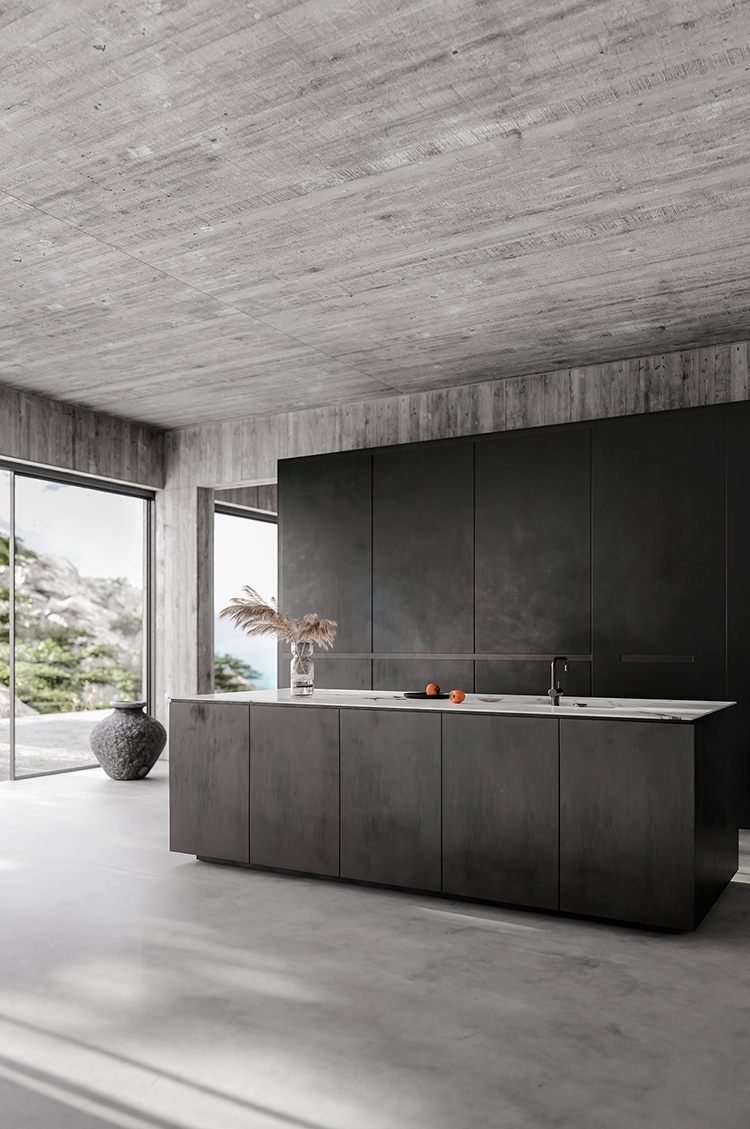 Contemporary interior design, minimalistic decor, bare concrete walls, concrete floors, minimalist black kitchen. Design by Klaudia Adamiak
