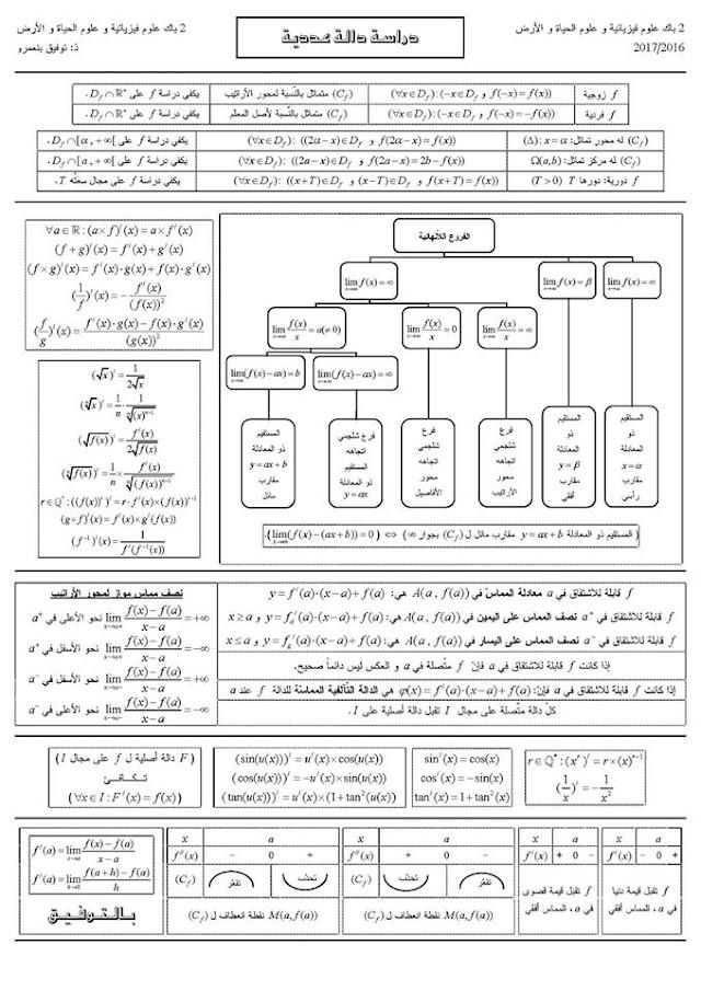 ملخص دراسة دالة عددية و الفروع اللانهائية