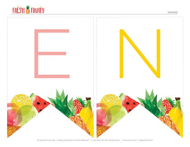 Banderines de Fruta Fresca para imprimir gratis.