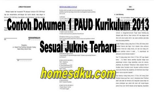 Contoh Dokumen 1 PAUD Kurikulum 2013 Sesuai Juknis Terbaru