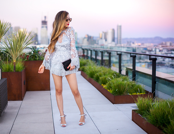 ALICE MCCALL ZIGGY STARDUST ROMPER, silver blue romper, lace romper, fringe, nina vinnie crystal embellished shoes, embellished shoes, nina meadow beaded clutch, nina clutch, quay sunglasses, san francisco fashion blog, san francisco street style