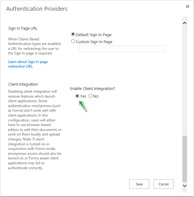 sharepoint client integration disable