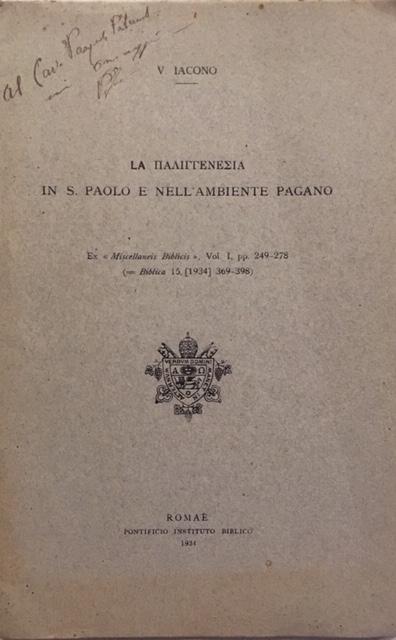 Vincenzo Iacono - La palingenesi in S. Paolo nell'ambiente pagano