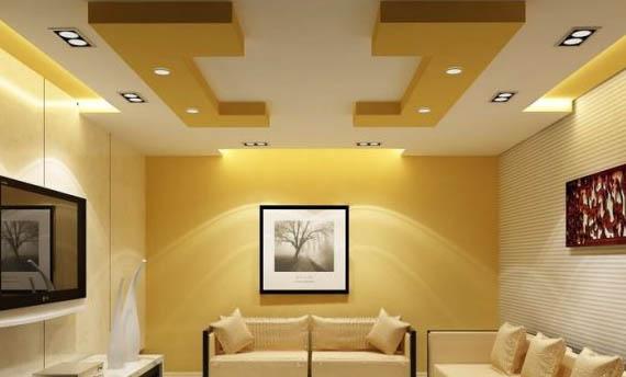 Perpaduan Warna Plafon Ruang Tamu Sederhana