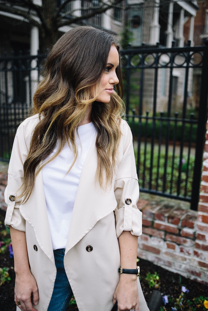 KBStyled: banana republic white tee shein khaki jacket