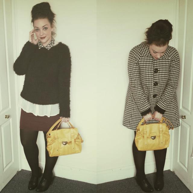 04da46c200a bag c o ji ji kiki    swing coat    vintage    skirt + shoes    new look     shirt + jumper + bow + tights    primark
