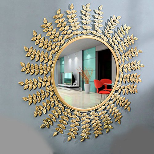 Furnish Craft Leaf Designed Wall Mirror for Home Decor, Living Room, Bedroom, Bathroom (28 x 28 inch, Golden Leaf)