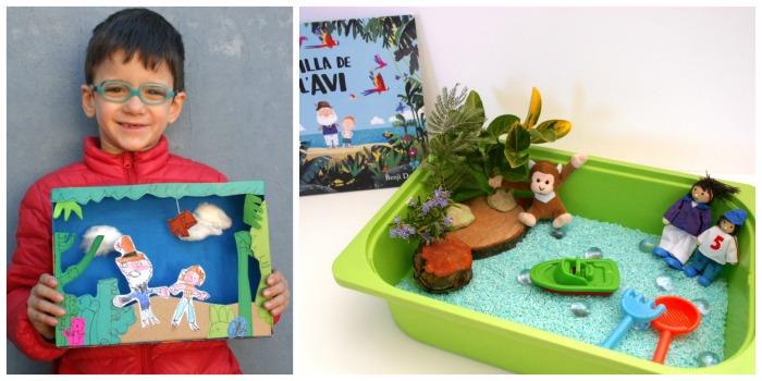 actividades en torno al libro La isla del abuelo, arte y caja sensorial