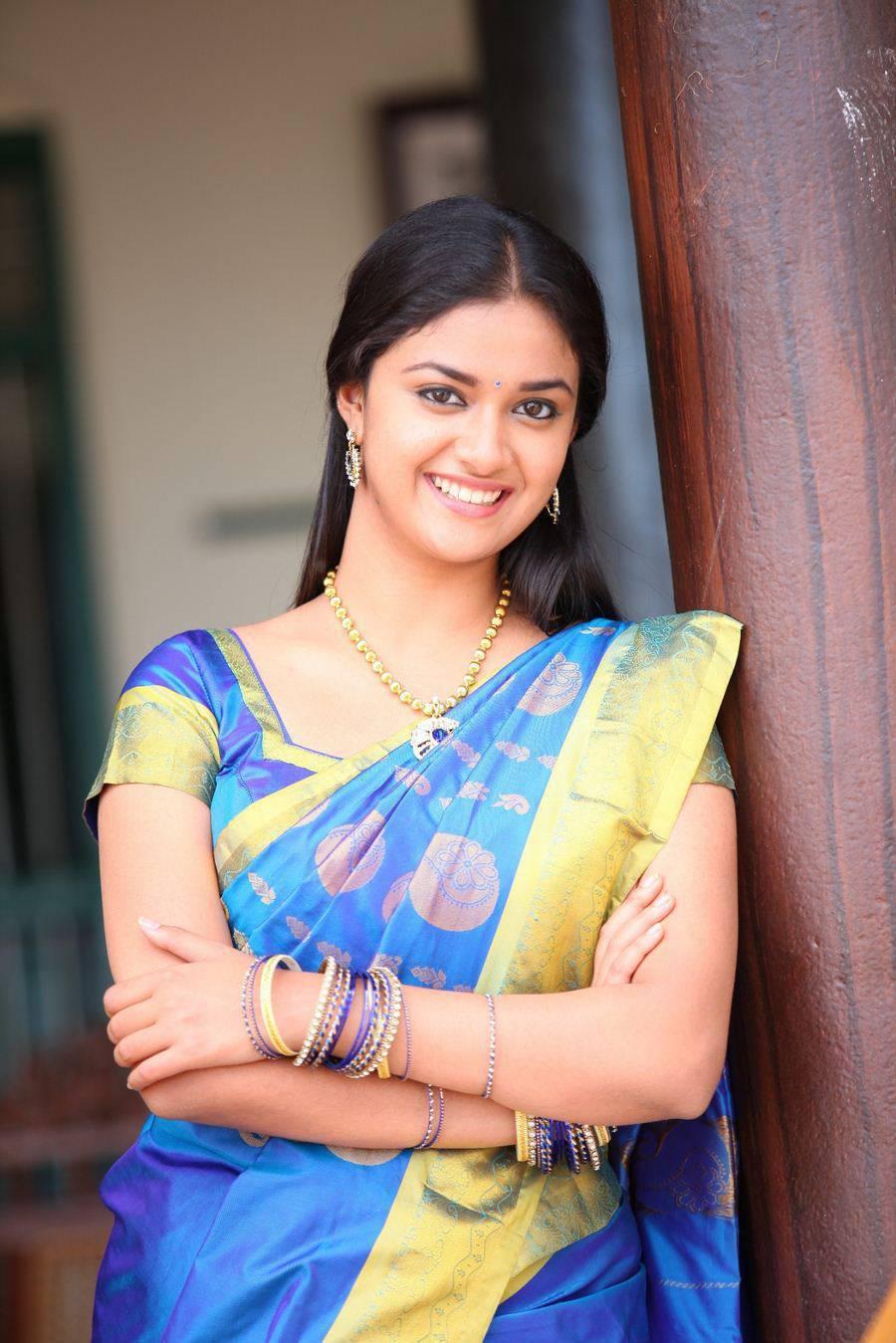 Keerthi Suresh Stills From Tamil Movie In Blue Saree