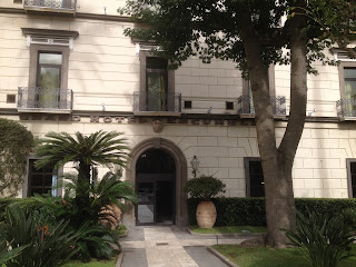 The entrance to the Grand Hotel Cocumella in Sant'Agnello, where Crawford lived before buying his clifftop villa nearby