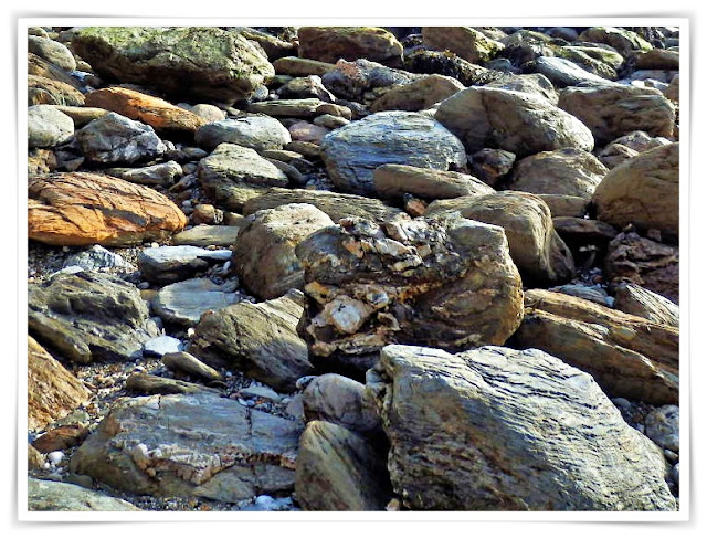 Stones and rocks on Charlestown Beach, Cornwall