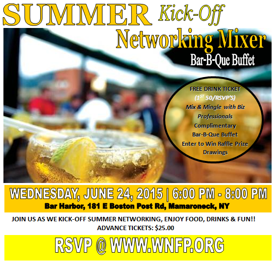 June 24th Summer BBQ Networking Mixer @ Bar Harbor, Mamaroneck, NY