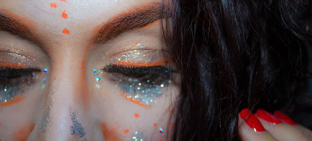 Monday Shadow Challenge : Orange & Glitters 💕