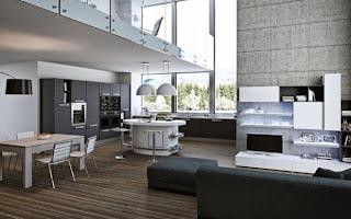 cocina y sala en un ambiente