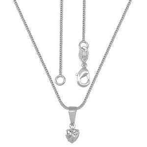 Gargantilha Folheada a Prata e Pingente em Forma de Coração c/ Zircônia