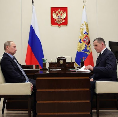 Vladimir Putin with Deputy Prime Minister and Presidential Envoy to the Far Eastern Federal District Yury Trutnev.