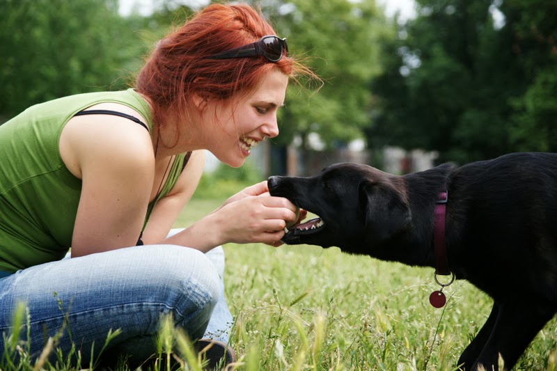 A young woman playing with her dog in a park in Berlin