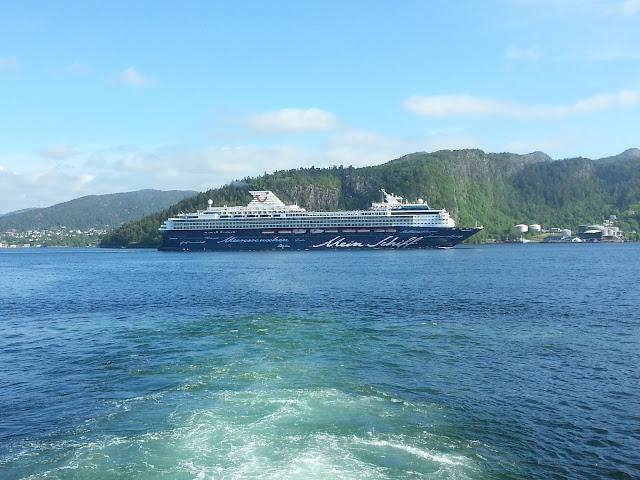 TUI cruise ship Mein Schiff 1 in Bergen, Norway; Fjord cruise; Ships in Bergen