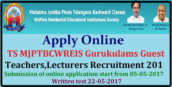 TS MJPTBCWREIS Gurukulams Guest Teachers,Lecturers Recruitment 2017 TS MJP BC Residential Schools,Colleges Teachers,JLs/Junior Lecturers Recruitment 2017,Last date to apply for Jyothiba BC Gurukulams Teachers, Junior Lecturers Recruitment 2017,MJPTBCWREIS Guest Lecturers/ Teachers Recruitment 2017: Mahatma Jyothiba Phule Telangana Backward Classes Welfare Residential Educational Institutions Society (MJPTBCWREIS) invites online applications for the recruitment of Guest Lecturer posts on temporary basis in TS MJP BC Residential Junior Colleges/ Residential Degree Colleges for Women & Guest Teachers in Residential Schools for the Academic year 2017-18. Eligible candidates can apply online through mjptbcwreis.cgg.gov.in before 14.05.2017,TS BC Welfare Gurukulams Teachers Recruitment 2017,TS Junior Lecturers Recruitment 2017,Guest Teachers,Lecturers Posts Recruitment 2017 for English Medium in Gurukulam Schools, Colleges,Download application form of MJPTBCWREIS Teachers, Junior Lecturers Recruitment 2017,,BC Gurukulam Teacher, Junior Lecturer Posts 2017, PGTs, TGTs, PETs, PDs, JLs in TS BC Gurukulams, TS MJPTBCWREIS Gurukulams Guest Teachers,JL/DLs/Lecturers Recruitment 2017 apply in www.mjptbcwreis.cgg.gov.in ,TS MJPTBCWREIS,#Telangana mjp ts bc gurukulams teachers,lecturers recruitment 2017 @ mjptbcwreis.cgg.gov.in,guest teachers,guest lecturers in mjp ts bc residential schools colleges,last date to apply for gurukulams teachers,lecturers recruitment,Telangana/TS MJP TS BC Gurukulams Teachers,Lecturers Recruitment 2017 apply in www.mjptbcwreis.cgg.gov.in website,Mahatma Jyothiba Phule Telangana Backward Classes Welfare Residential Educational Institutions Society (MJPTBCWREIS) Application for the post of Guest Teachers in Residential Schools,Application for the post of Guest Teachers in Residential Schools,Application for the post of Guest Lecturers in Residential Junior Colleges ,Guest Lecturers & Teachers Notification,Guest Teachers,Guest Lecturers for Junior Colleges,Guest Lecturers for Degree Colleges,Teachers,JL/DLs/Lecturers Recruitment 2017,pgts,tgts,pets,pds,jls in mjp ts bc residential schools,MJP TS BC Gurukulams Teachers,Lecturers Recruitment 2017 @ mjptbcwreis.cgg.gov.in,TS MJP BC Residential Schools,Colleges Teachers,JLs/Junior Lecturers Recruitment 2017,Last date to apply for Jyothiba BC Gurukulams Teachers, Junior Lecturers Recruitment 2017. Mahatma Jyothiba Pule Telangana Backward Classes Welfare Residential Educational Institutions are inviting Online Applications from Eligible Candidates from Telangana for Guest Teachers and Guest Lecturers to work in BC Residentila Schools, Junior Colleges and Degree Colleges in all over Telangana State. Detailed Qualifications Rules and Regulations are given in the Notification. Eligibilities Fee Particulars and How To Apply for different Posts mentioned in the Notification here we are providing you. Online Application for Guets Teachers for Residential School Residential Junior Colleges Residentila Degree Colleges for Women. apply-online-for-guest-teachers-lecturers-bc-welfare-residential-schools-colleges-telangana/2017/05/TS-MJPTBCWREIS-gurukulam-apply-online-for-guest-teachers-lecturers-bc-welfare-residential-schools-colleges-telangana-recruitment-2017.html