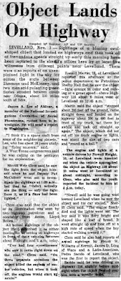 Object Lands on Highway - Amarillo Daily News 11-4-1957