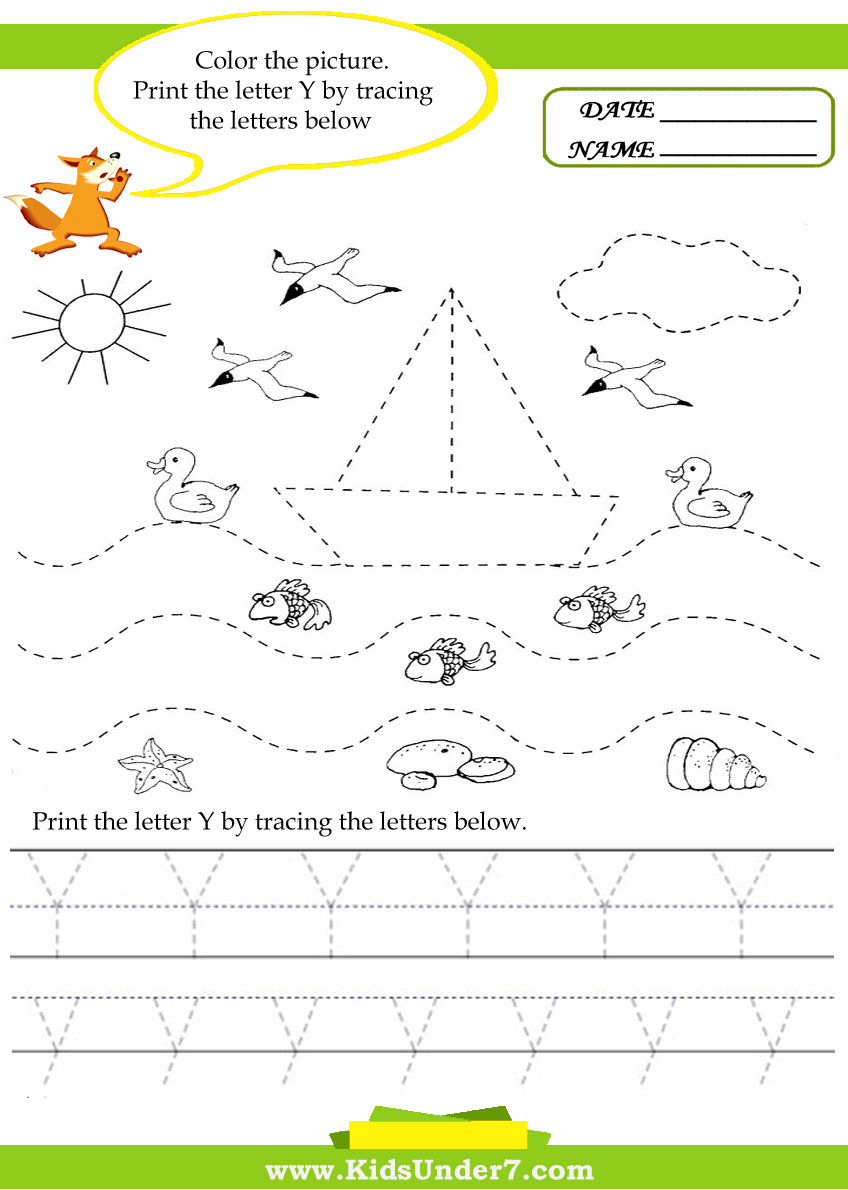 Letter Y Activity.Kids Under 7 Alphabet Worksheets Trace And Print Letter Y