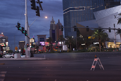 Las Vegas Blvd prior to the start of the Rock and Roll, without the cars.