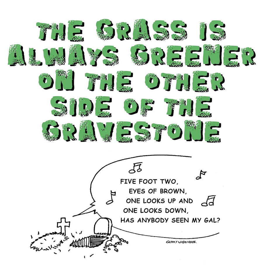 graveyard cartoon, gallows humor, Gerry Lagendyk