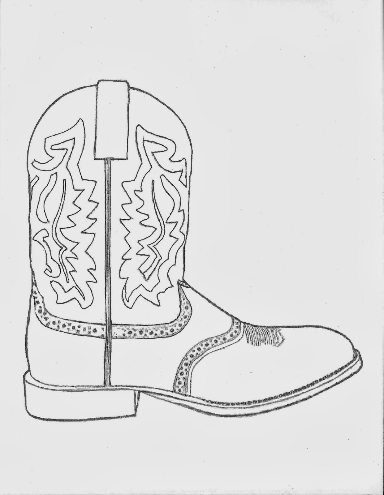 Western Coloring Pages Cowboy Boot Coloring Page By