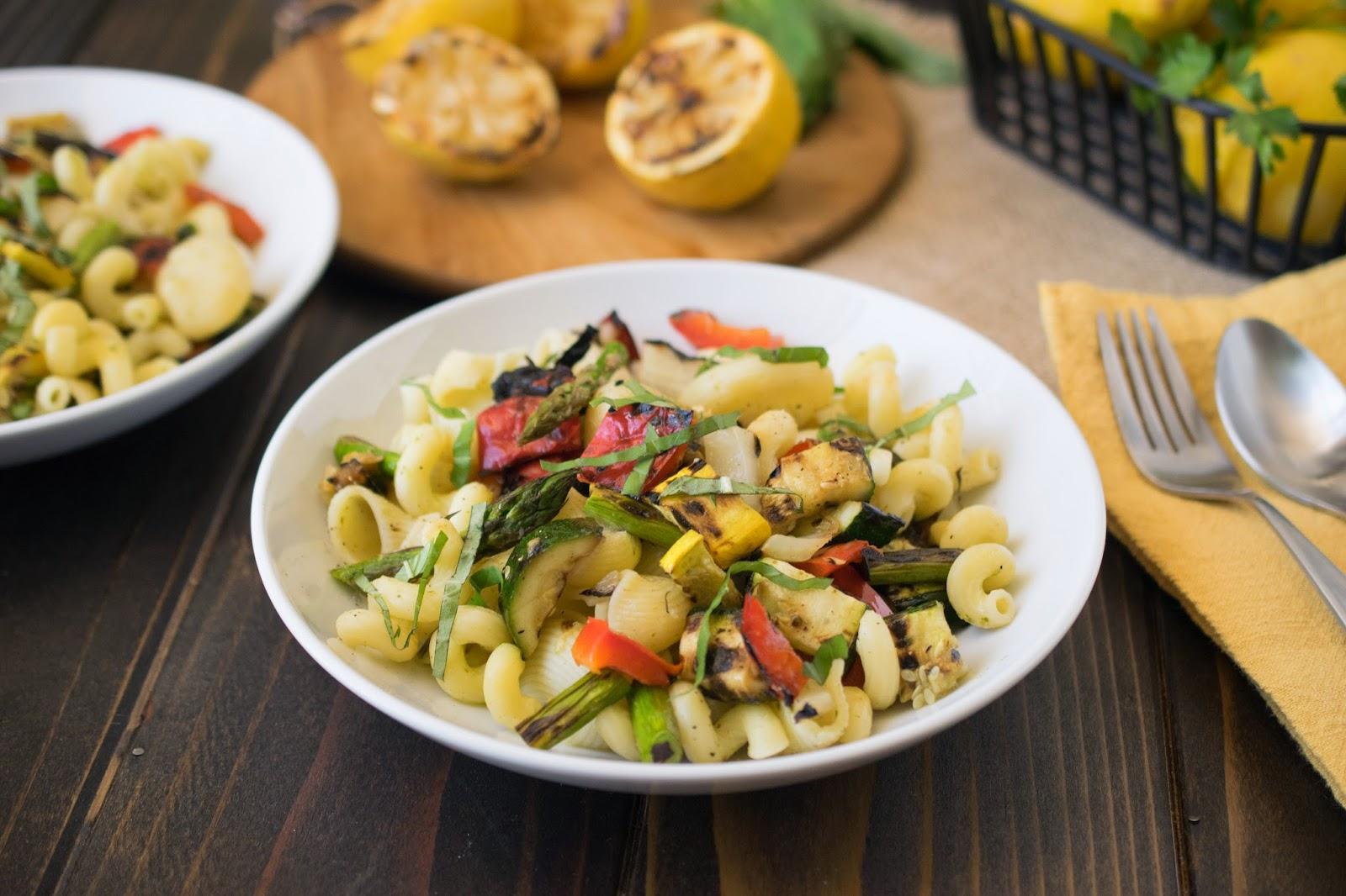 Grilled Spring vegetable pasta salad - Culinary Ginger